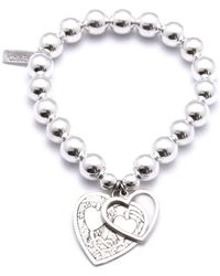 ChloBo - Medium Ball Bracelet With Decorated And Open Heart Charms - Lyst
