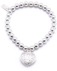 ChloBo - Small Ball Bracelet With Filagree Heart Charm - Lyst