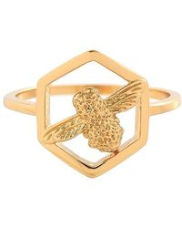 Olivia Burton - Honeycomb Bee Gold-plated Ring - Lyst