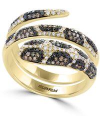 Effy - 14k Yellow Gold Ring With 0.92 Tcw Diamond, Black Diamond, Espresso Diamond - Lyst