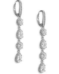 Nadri | Framed Pave Linear Drop Earrings | Lyst