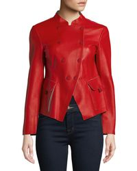 Emporio Armani - Double-breasted Leather Jacket - Lyst