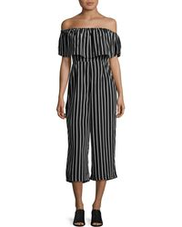 Lord & Taylor - Striped Off-the-shoulder Jumpsuit - Lyst
