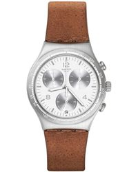 Swatch | Stainless Steel Chronograph Leather Strap Watch | Lyst