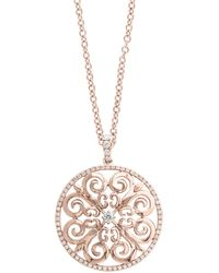 Effy - 14k Rose Gold Scroll Pendant Necklace With 0.46tcw Diamonds - Lyst