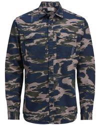 Jack & Jones | Camo Long-sleeve Cotton Sport Shirt | Lyst