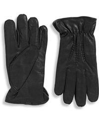 Black Brown 1826 - Microfur Lined Three Point Leather Glove With Elastic Cuff - Lyst