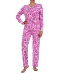 Jasmine Rose - Two-piece Fuzzy Printed Pajama Set - Lyst