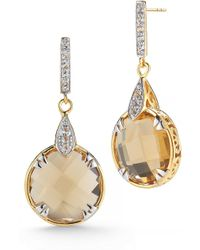 DeLatori - 18k Goldplated And Sterling Silver Citrine Drop Earrings - Lyst