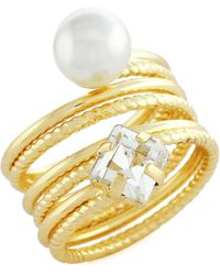 BCBGeneration - Coil Faux Pearl Ring - Lyst