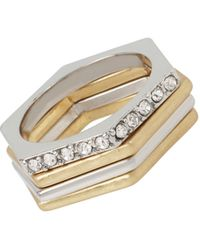 Kenneth Cole | Mixed Metal Geometric Stackable Ring Set | Lyst