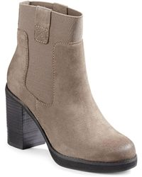 Lord & Taylor | Jane Suede Stacked Heel Boots | Lyst