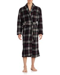 Black Brown 1826 - Striped Plaid Fleece Robe - Lyst