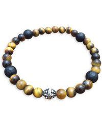 John Zack - Tigereye And Onyx Stretch Bracelet - Lyst