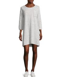 Two By Vince Camuto   Three-quarter Nautical Stripe Terry T-shirt Dress   Lyst