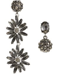 Lord & Taylor - Mismatch Navette And Pave Ball Earrings - Lyst