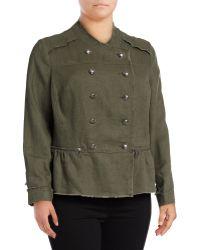 INC International Concepts | Plus Linen Peplum Military Jacket | Lyst