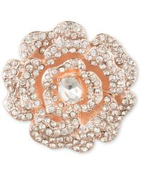 Anne Klein - Pave Open Flower Brooch - Lyst