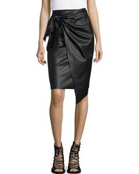 MO&CO. EDITION10 - Faux Leather Knot Front Midi Skirt - Lyst