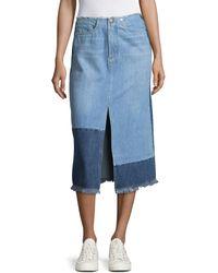 MO&CO. EDITION10 - Colourblock Slit Midi Denim Skirt - Lyst
