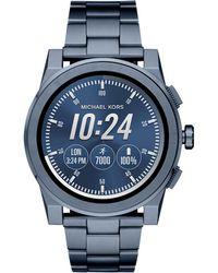 Michael Kors - Grayson Touchscreen Smartwatch Blue Ip Stainless Steel Link Bracelet Watch - Lyst