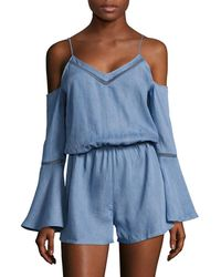Lord & Taylor - Cold-shoulder Bell-sleeve Romper - Lyst