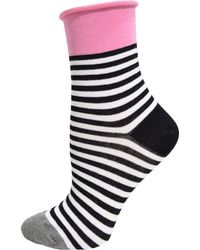 Hue - Graphic Roll Top Shortie Socks - Lyst