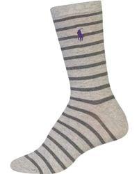Lauren by Ralph Lauren - Stripe Crew Socks - Lyst