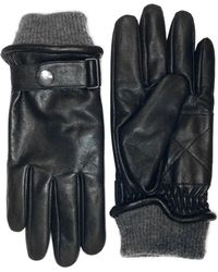 London Fog - Buckled Leather Gloves With Knit Cuff - Lyst