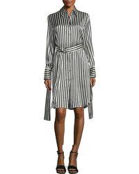 MO&CO. EDITION10 - Striped Silk Dress - Lyst