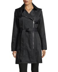Vince Camuto - Belted Aysemetrical Trench Coat - Lyst