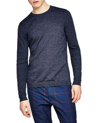 TOPMAN - Slim Fit Twist Side Ribbed Sweater - Lyst