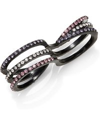 Lord & Taylor - Split Band Pave Stones Black Metal Ring - Lyst