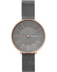 Skagen - Karolina Dark Grey Stainless Steel Mesh Watch - Lyst