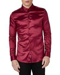 Topman | Muscle Fit High Shine Satin Shirt | Lyst