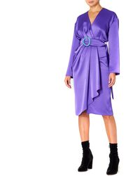 Dalood Women Silk Midi Dress With Belt Purple