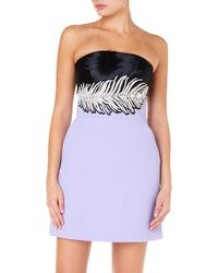 David Koma - Strapless Dress With Crystal Feather Embroidery - Lyst