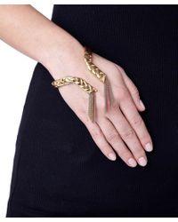 Eshvi - Braid Yellow Gold Plated Bracelet - Lyst