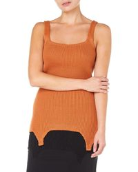 Bevza Knitted Vest Women Rust Top - Brown