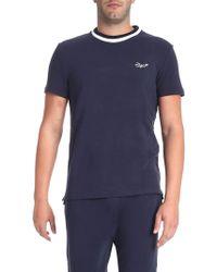 Ermenegildo Zegna - T-shirt blu con girocollo bianco - Lyst