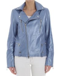 Desa - Leather Jacket In Blue - Lyst