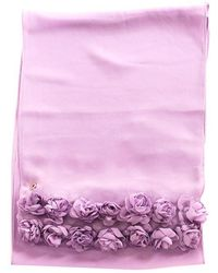 Twin Set - Crepe Scarf With Roses Applied - Lyst