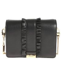 Michael Kors - Black Leather Gusset Clutch Bag With Ruffles - Lyst