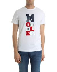 Moncler - White T-shirt With Logo - Lyst