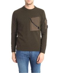 C P Company - Green Pullover With Technical Fabric Pockets - Lyst