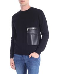 DSquared² - Black Pullover With Eco-leather Pocket - Lyst