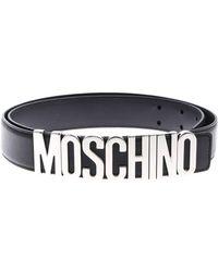 9c256277e1 Moschino - Black Belt With Silver Logo - Lyst