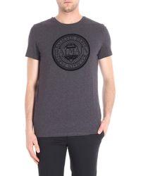 Balmain - Grey Melange T-shirt With Logo - Lyst