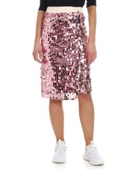 MM6 by Maison Martin Margiela - Pink Skirt With Sequins Embellishment - Lyst