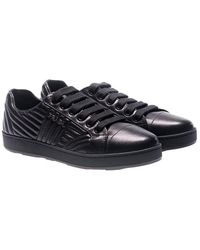 Prada - Black Quilted Leather Sneakers - Lyst